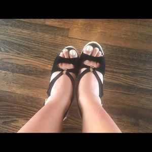 Yves Saint Laurent Shoes - Black YSL wedges😍